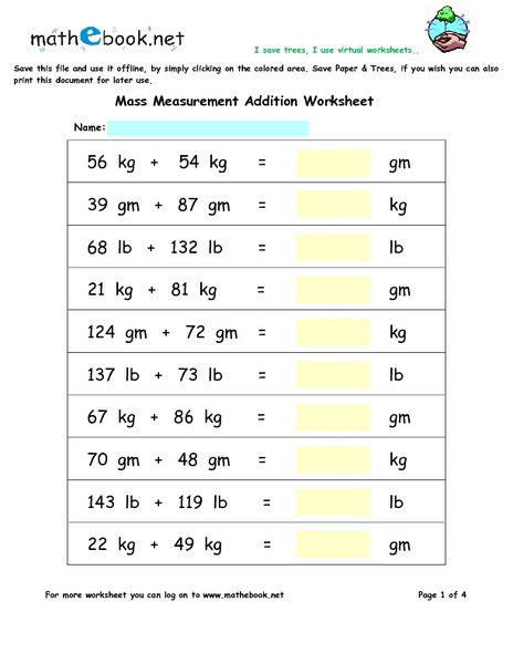 Mass Worksheets 3rd Grade Mass Measurement Addition Worksheet for 3rd 5th Grade