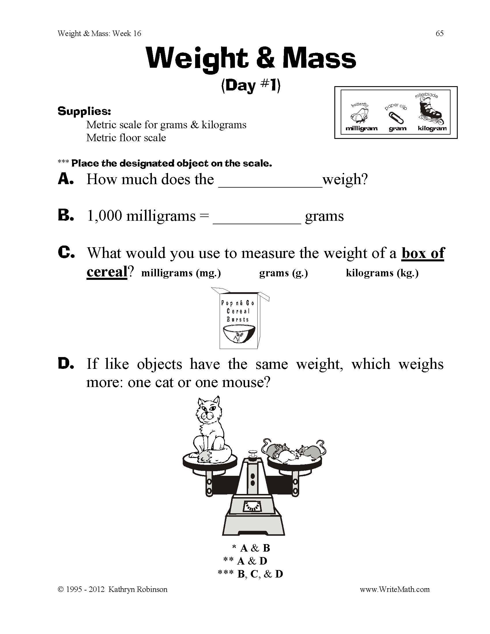 Mass Worksheets 3rd Grade Teaching Weight & Mass 3rd 4th 5th Grade Math Worksheets