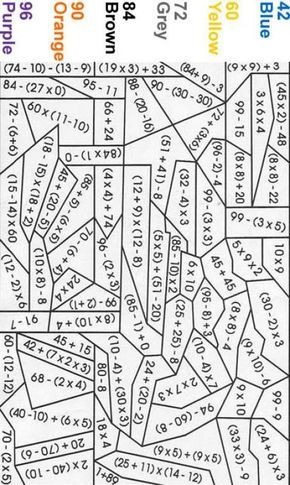 Math Coloring Worksheets 7th Grade Blue Color by Number