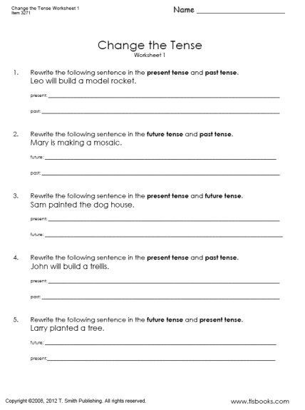 Math Conversion Worksheets 5th Grade Snapshot Image Change the Tense Worksheet with