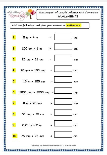 Measurement Worksheet 3rd Grade Grade 3 Maths Worksheets 11 3 Measurement Of Length