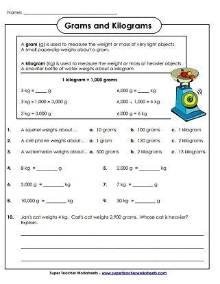 Measurement Worksheet 3rd Grade Measuring Weight Kilograms and Grams Worksheets