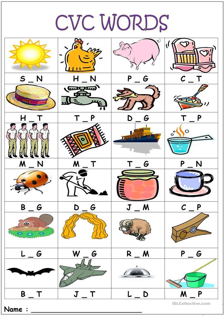 Medial sounds Worksheets First Grade Cvc Words Medial sounds English Esl Worksheets for