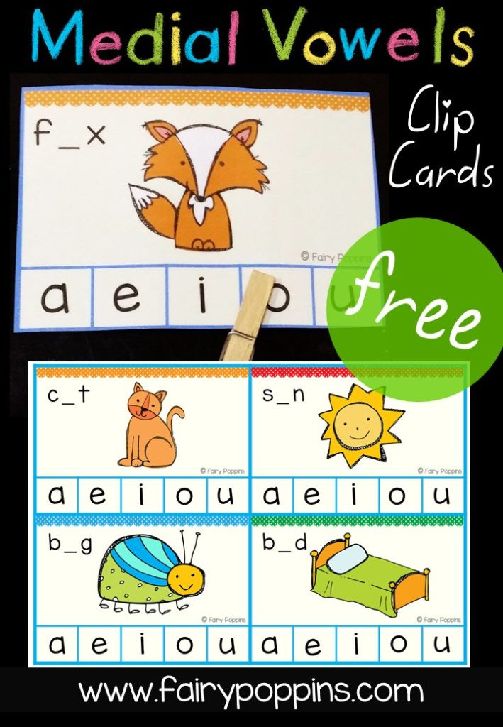 Medial sounds Worksheets First Grade Medial Vowel Clip Cards