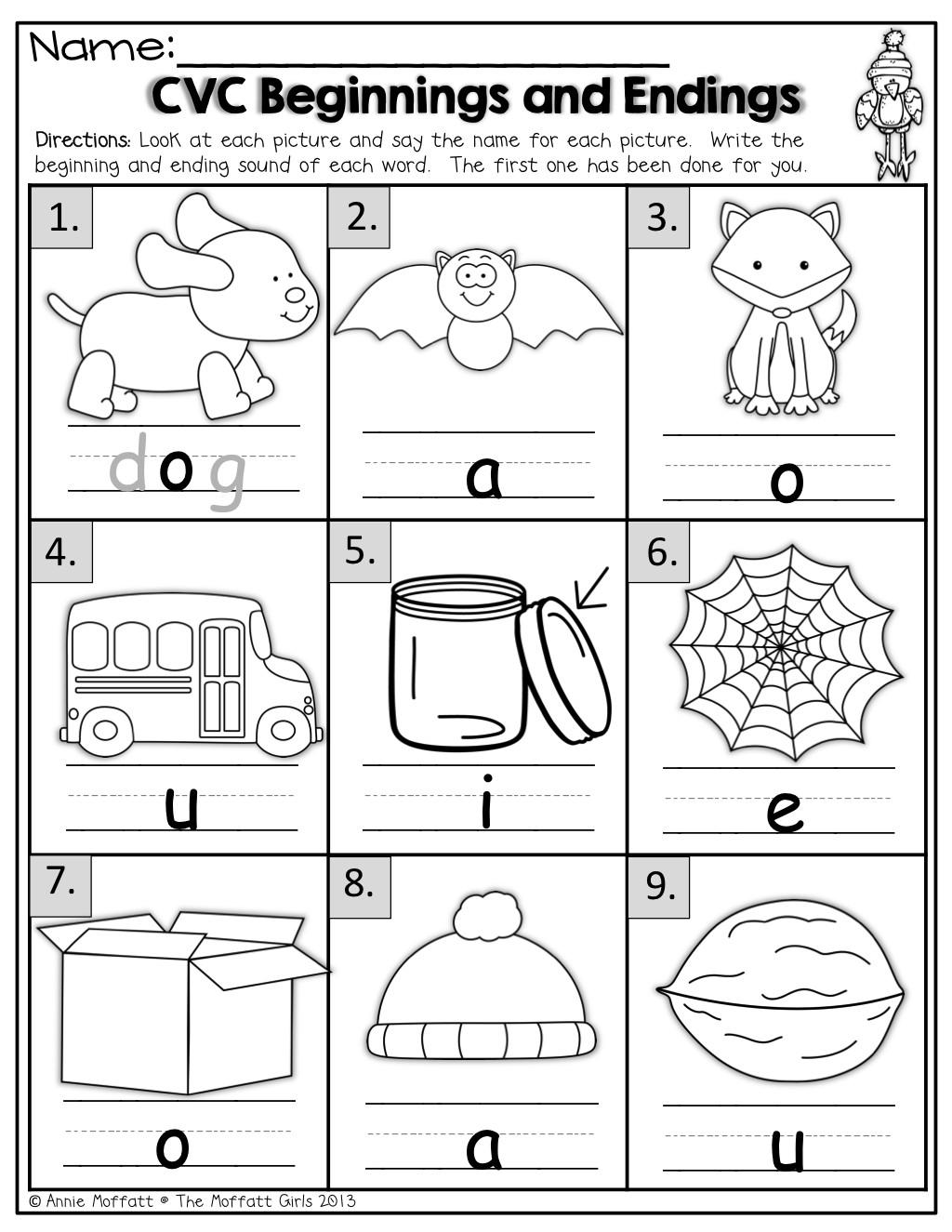 Medial sounds Worksheets First Grade Middle sound Worksheets Kindergarten