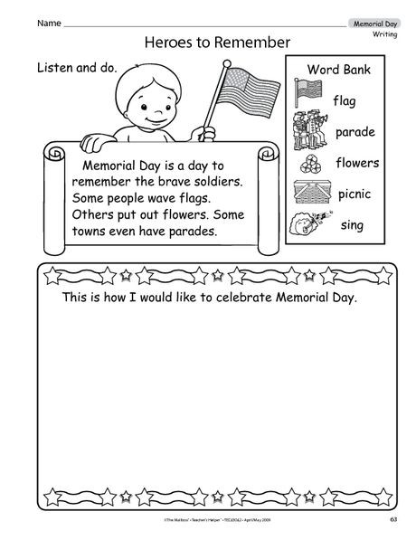 Memorial Day Worksheets First Grade Here S A Great Writing Activity for Memorial Day that
