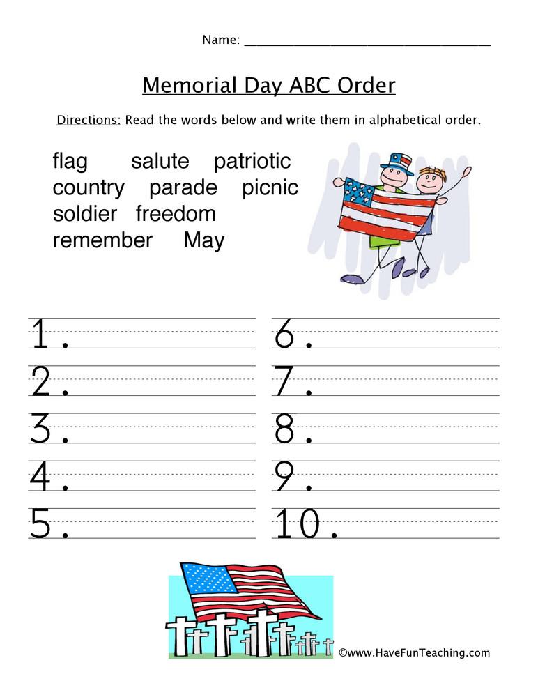 memorial day abc worksheet