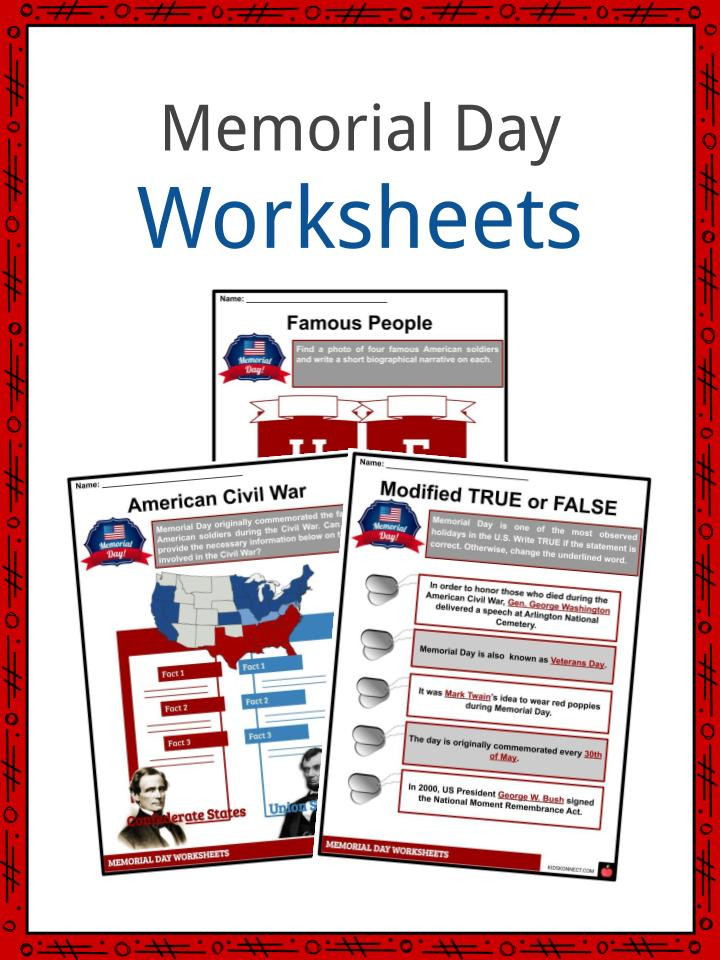 Memorial Day Worksheets First Grade Memorial Day Facts Worksheets & Historical Information for Kids