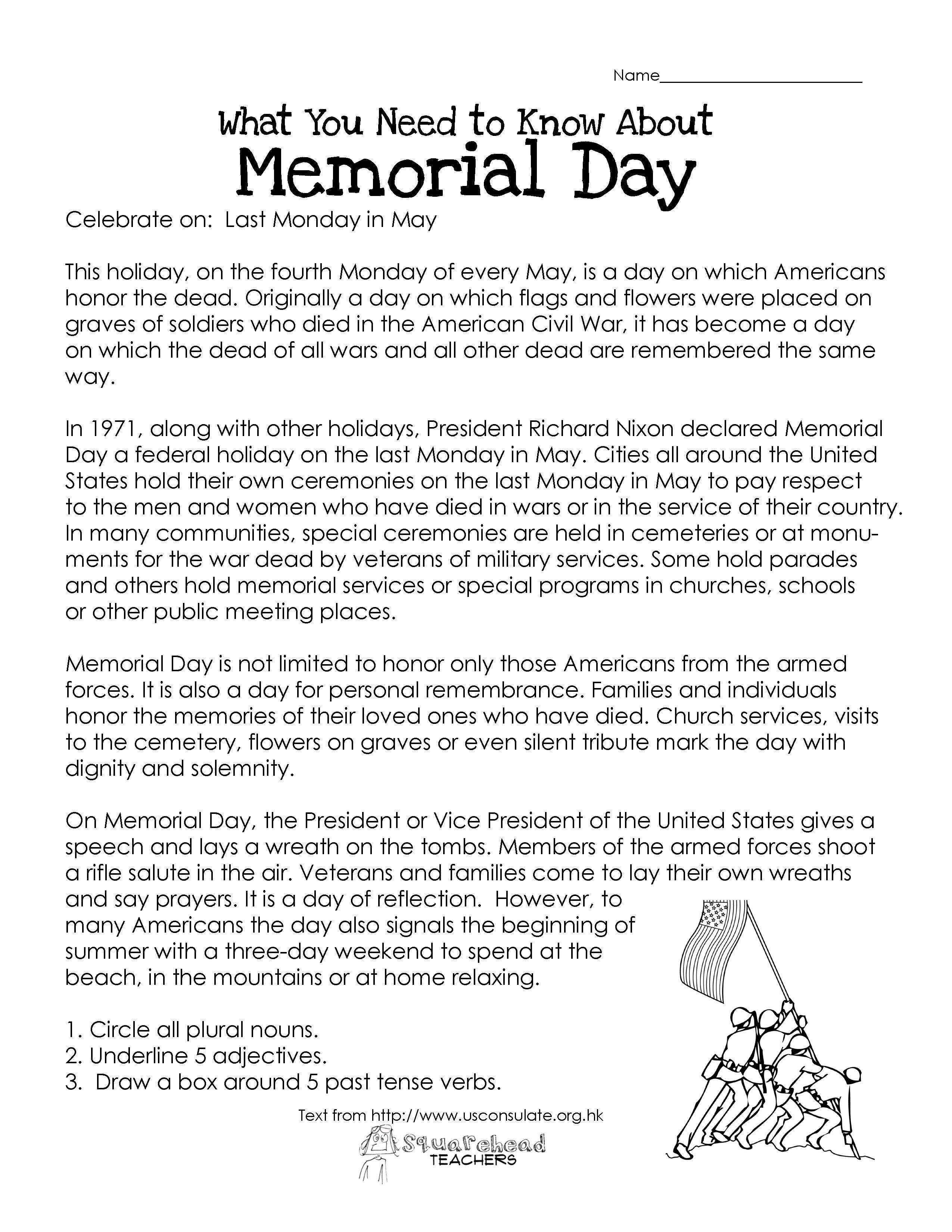 Memorial Day Worksheets First Grade Memorial Day Free Worksheet