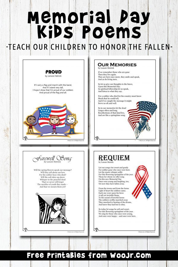 Memorial Day Worksheets First Grade Memorial Day Kids Poems