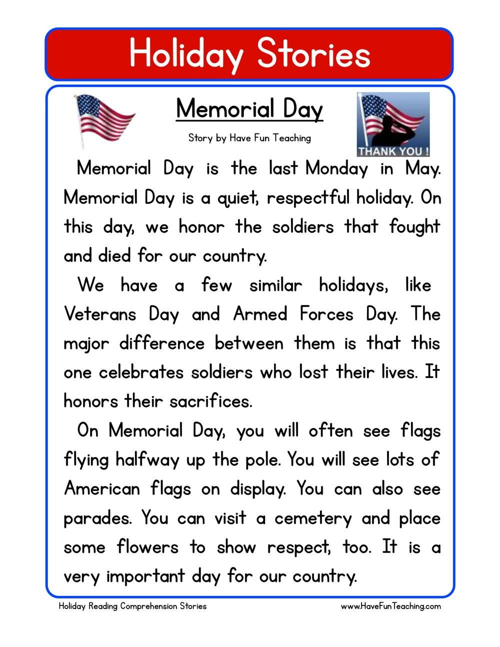 Memorial Day Worksheets First Grade Memorial Day Reading Prehension Worksheet