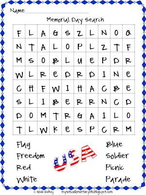 Memorial Day Worksheets First Grade Memorial Day Word Search