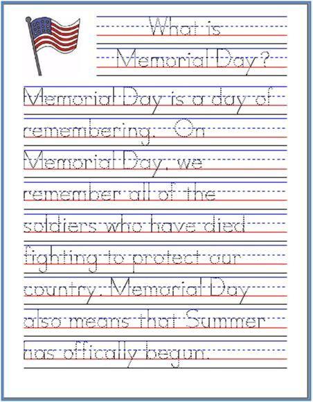Memorial Day Worksheets Free Printable Memorial Day Handwriting Worksheet Free Printable