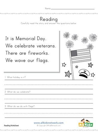 Memorial Day Worksheets Free Printable Memorial Day Reading Prehension Worksheet