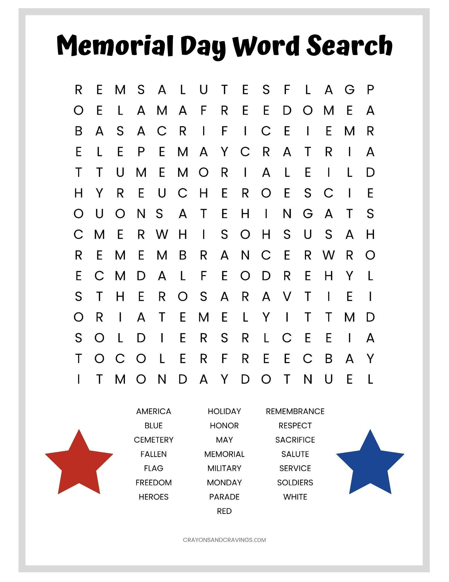 Memorial Day Worksheets Free Printable Memorial Day Word Search Free Printable Worksheet