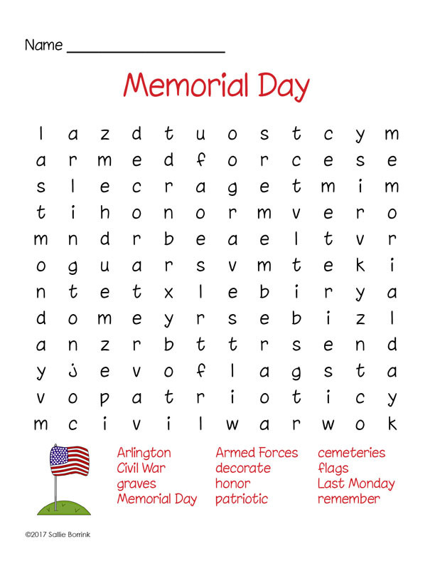 Memorial Day Worksheets Free Printable Memorial Day Word Search Puzzle