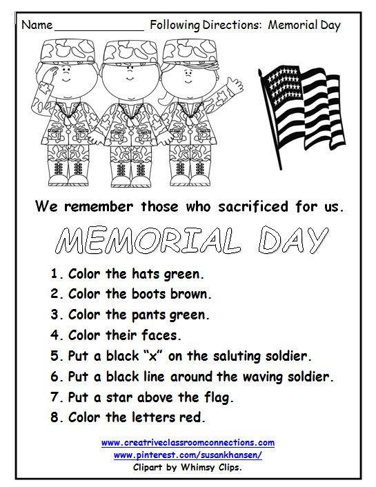 Memorial Day Worksheets Free Printable This Free Memorial Day Worksheet Reminds Students Of the