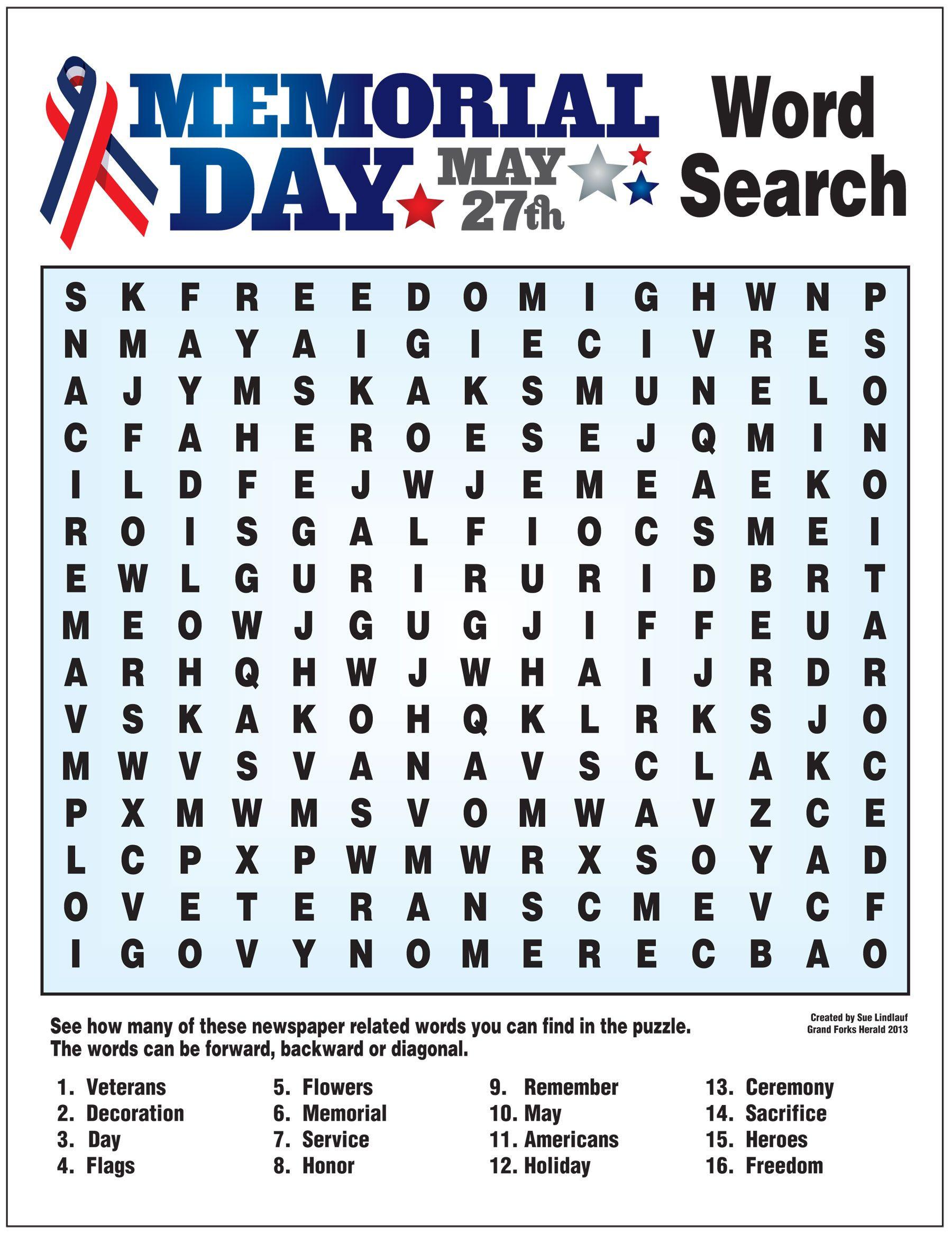Memorial Day Worksheets Free Printable Worksheet for Memorial Day