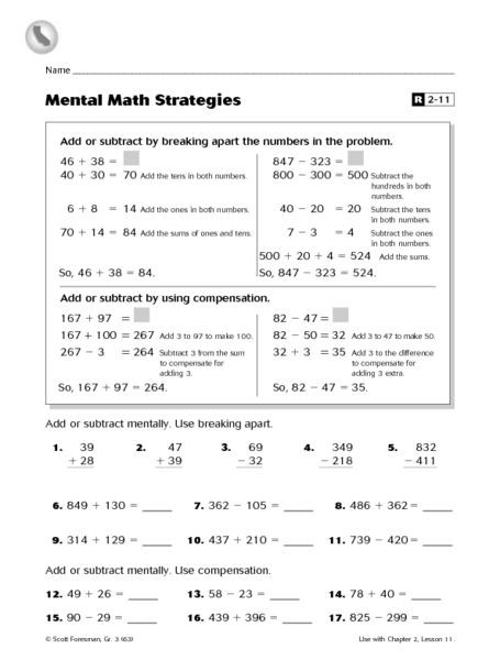 Mental Math Worksheets Grade 3 Mental Math Strategies Worksheet for 3rd 4th Grade