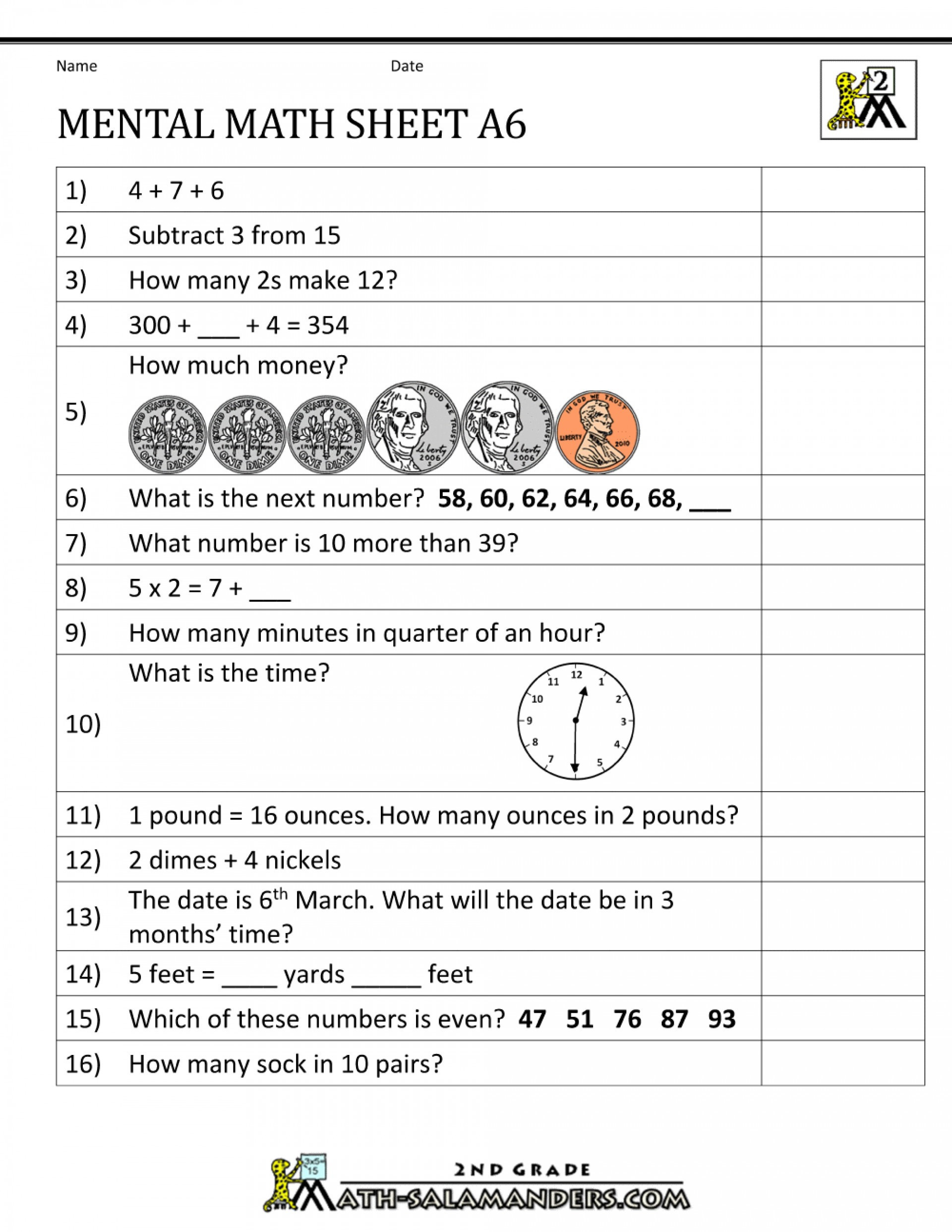 Mental Math Worksheets Grade 6 4 Mental Maths Worksheets 5th – Learning Worksheets