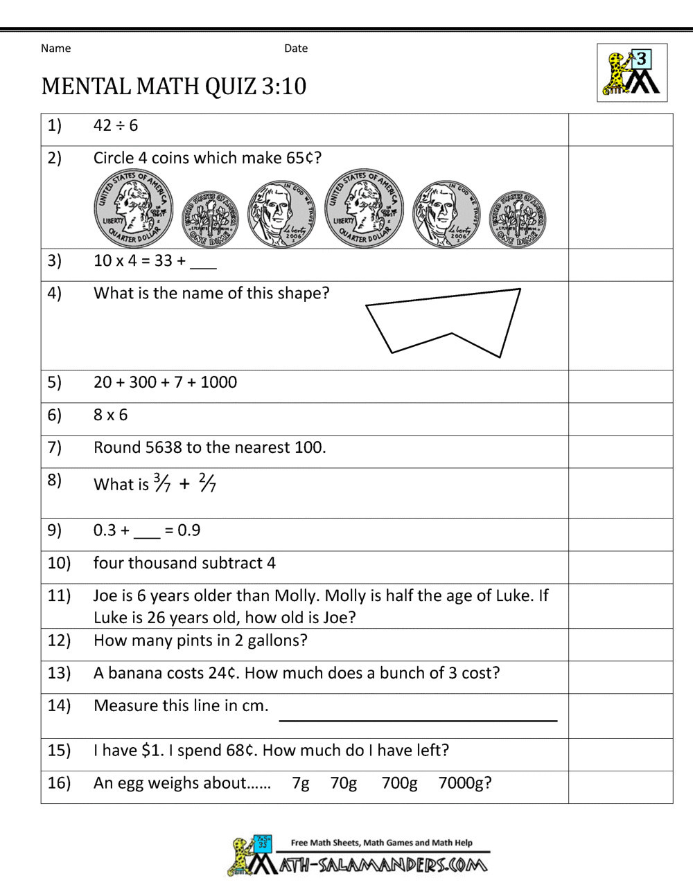 Mental Math Worksheets Grade 6 Printable Money Math Worksheets for 2nd Mental Math 3rd