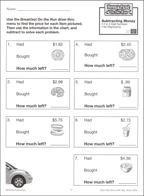 Menu Math Printable Drive Thru Menu Math Beginning Money Skills
