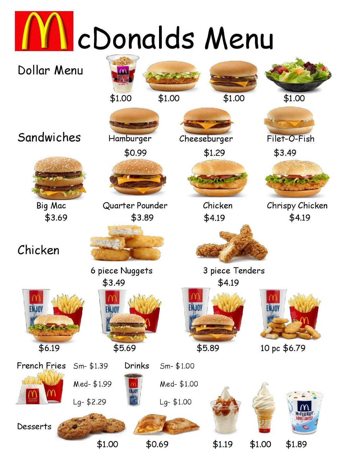 Menu Math Printable Fast Food Worksheet 1