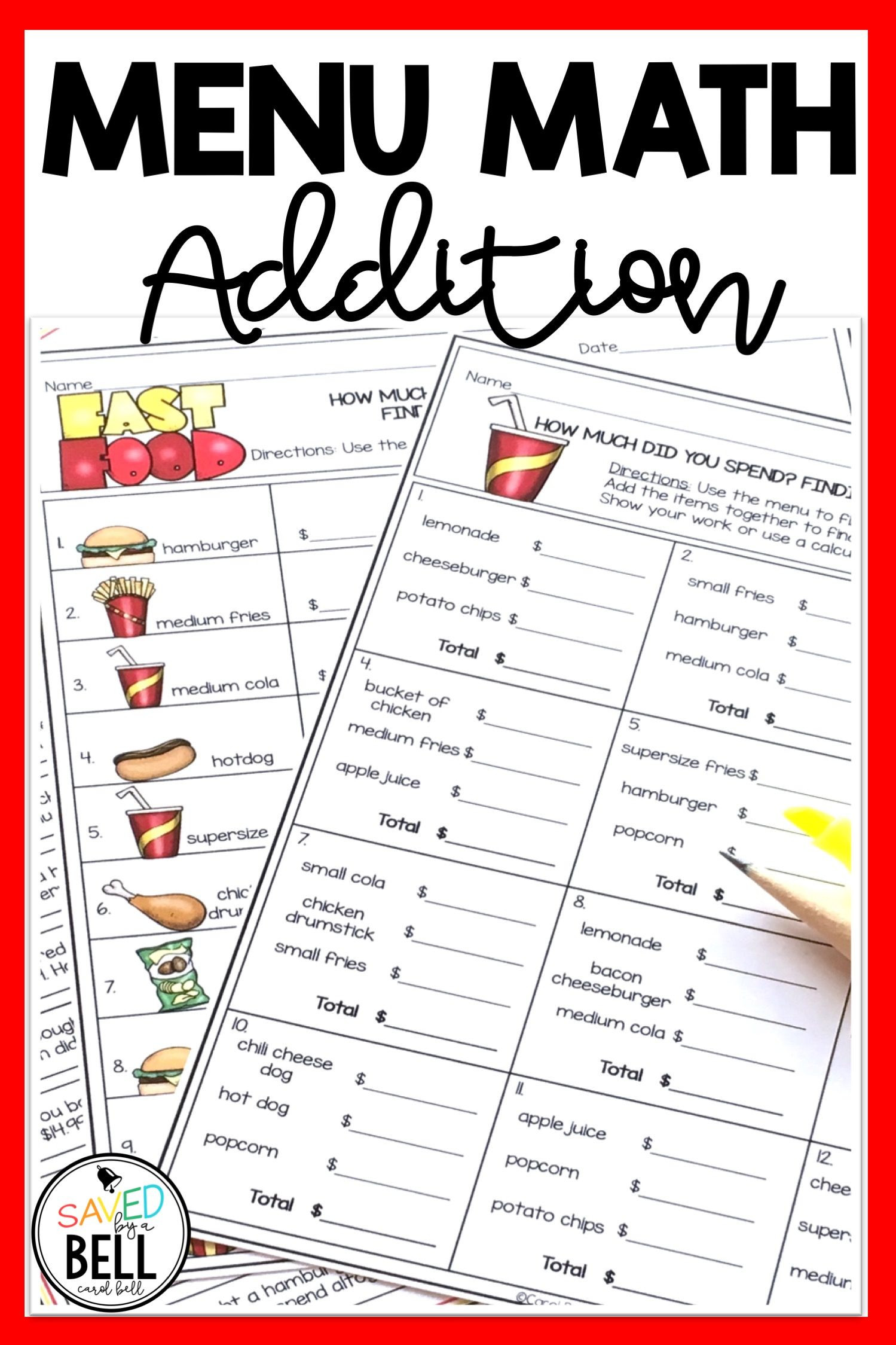Menu Math Worksheets Printable Addition Money Worksheets and Word Problems Menu Math