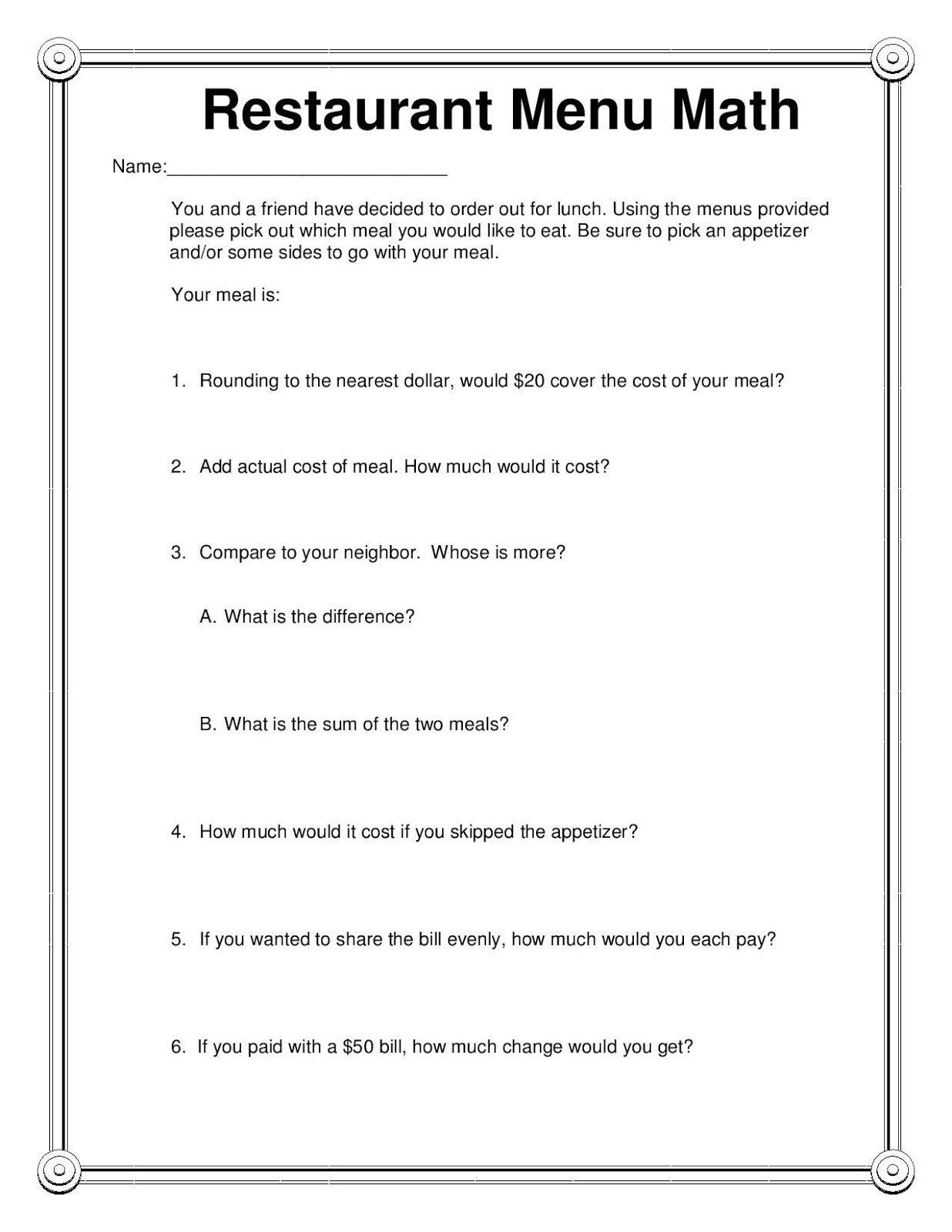 Menu Math Worksheets Printable Manic Monday Restaurant Menu Math Freebie