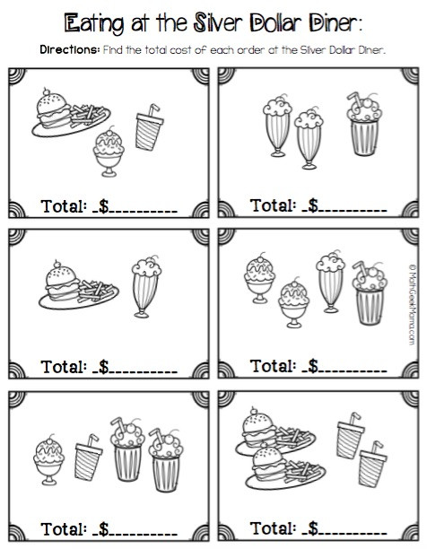 Menu Math Worksheets Printable Money Math Practice Worksheets Diner theme