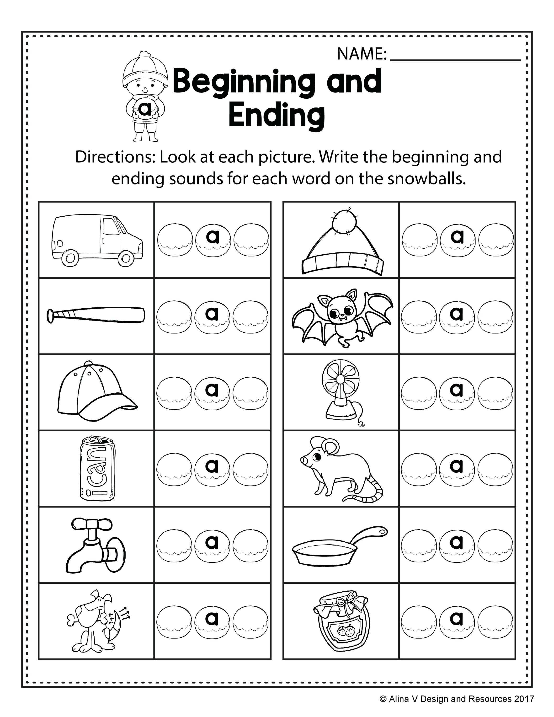 Middle sounds Worksheets for Kindergarten Beginning Middle End sounds Kindergarten Worksheets