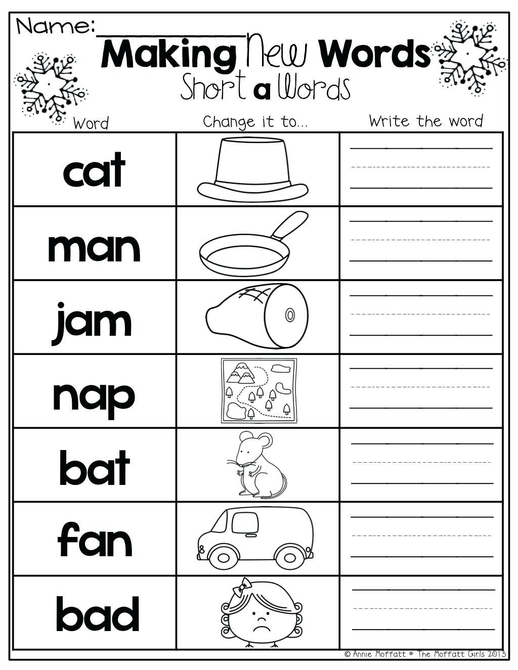 Middle sounds Worksheets for Kindergarten Beginning Middle End Worksheets Kindergarten and Ending