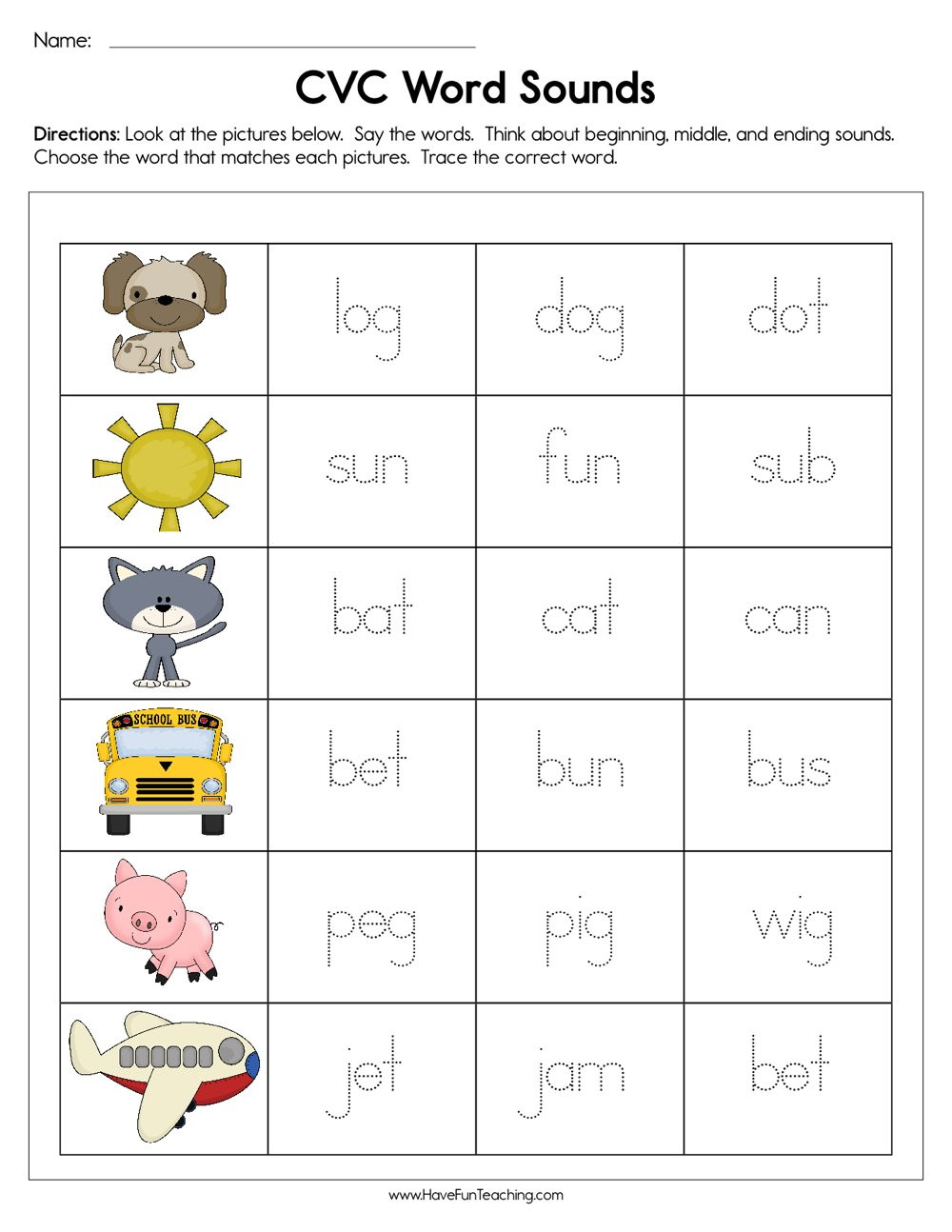 Middle sounds Worksheets for Kindergarten Cvc Word sounds Worksheet
