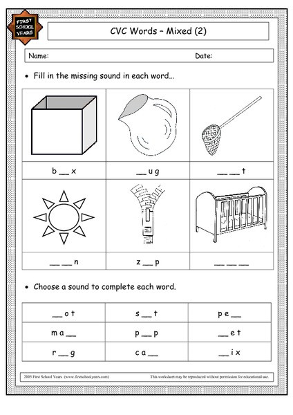 Middle sounds Worksheets for Kindergarten Cvc Words Mixed 2 Worksheet for Kindergarten 1st Grade