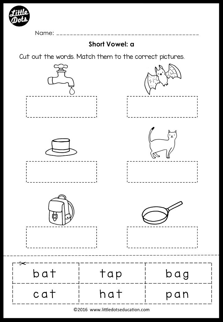 Middle sounds Worksheets for Kindergarten Short Vowels Middle sounds Worksheets and Activities