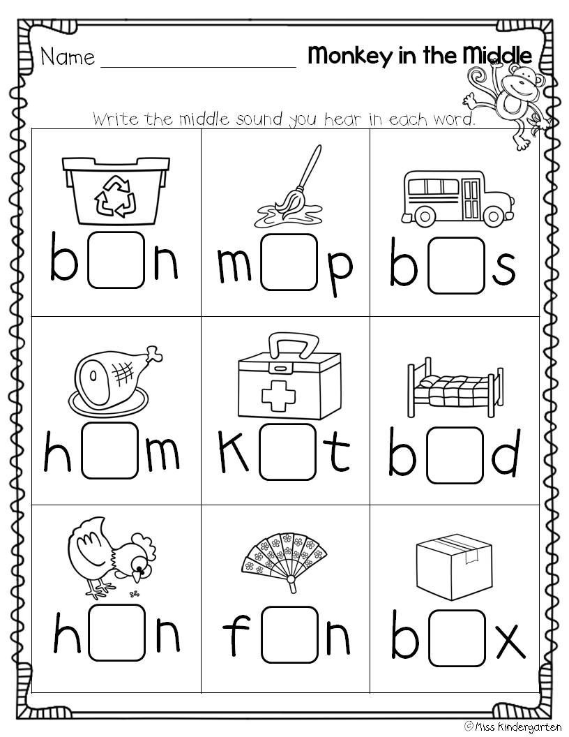 Middle sounds Worksheets for Kindergarten Super Cvc Practice