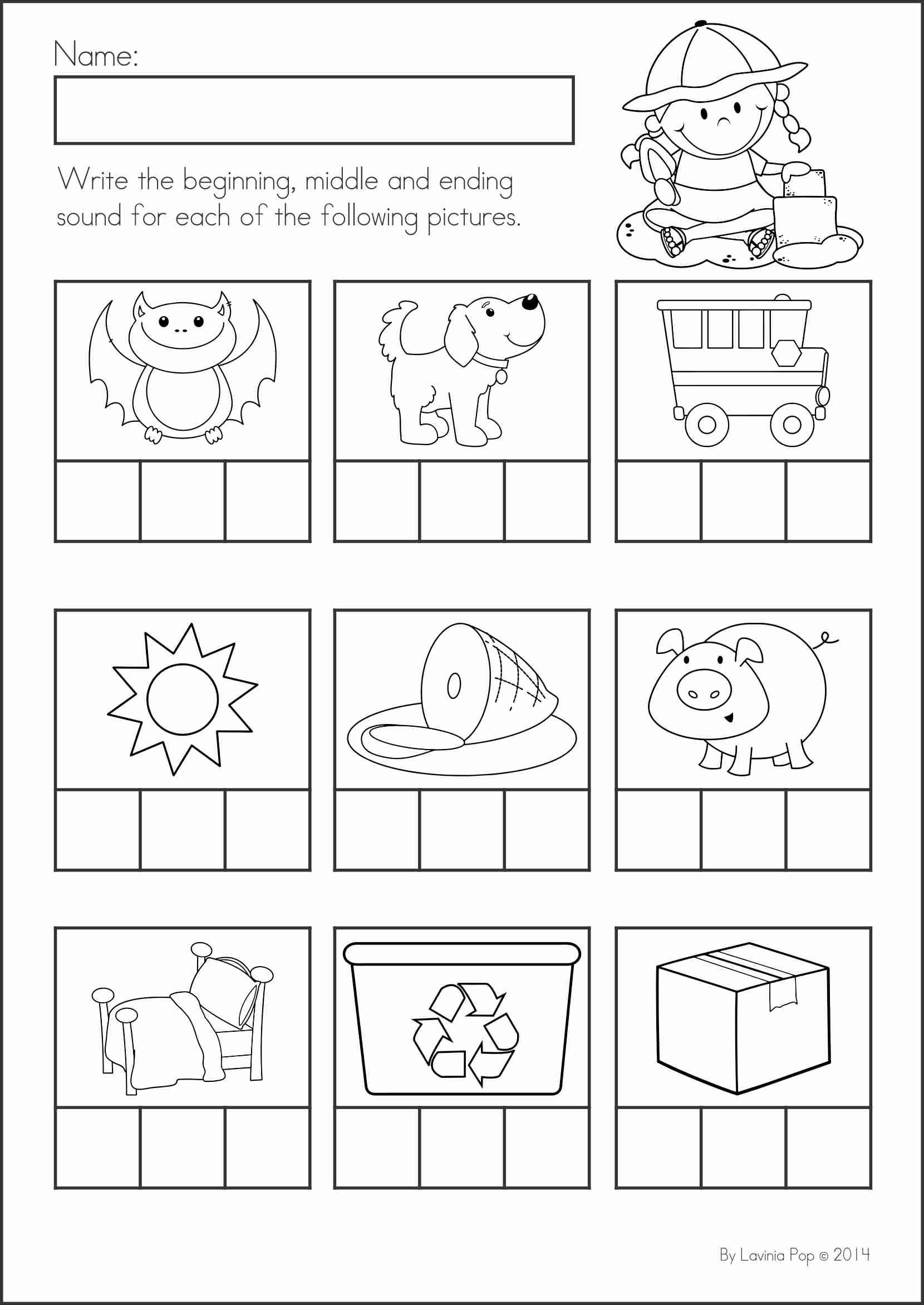 Middle sounds Worksheets for Kindergarten Unique Writing Cvc Words Worksheet