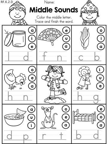 Middle sounds Worksheets for Kindergarten Winter Literacy Worksheets Kindergarten