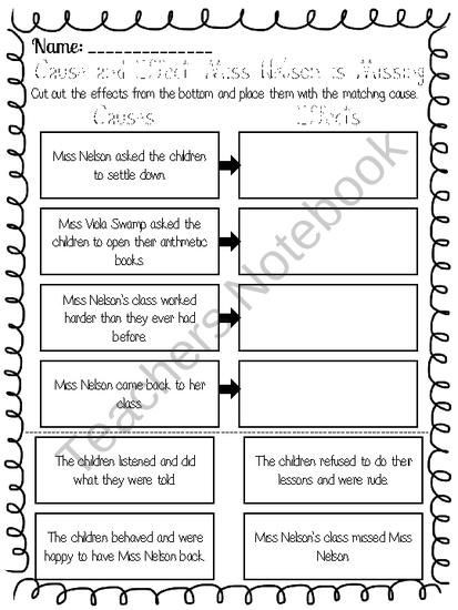 Miss Nelson is Missing Printables Cause and Effect Worksheet for Miss Nelson is Missing