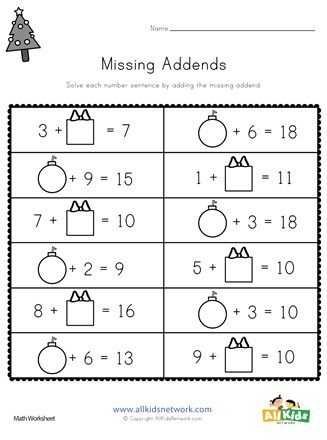 Missing Addend Worksheets 1st Grade Christmas Missing Addends Worksheet