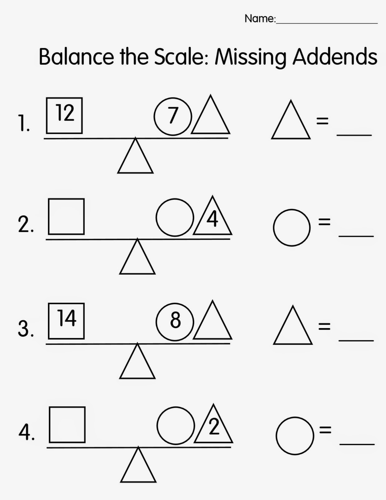 Missing Addend Worksheets 1st Grade First Grade Math Missing Number Worksheets
