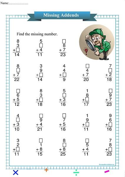 Missing Addend Worksheets Kindergarten Detective Missing Addend Free Math Worksheets