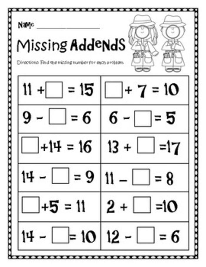 Missing Addend Worksheets Kindergarten Missing Addend Math Worksheet Examples