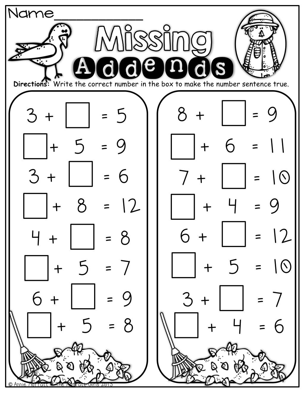 Missing Addend Worksheets Kindergarten Missing Addend Worksheet 1st Grade