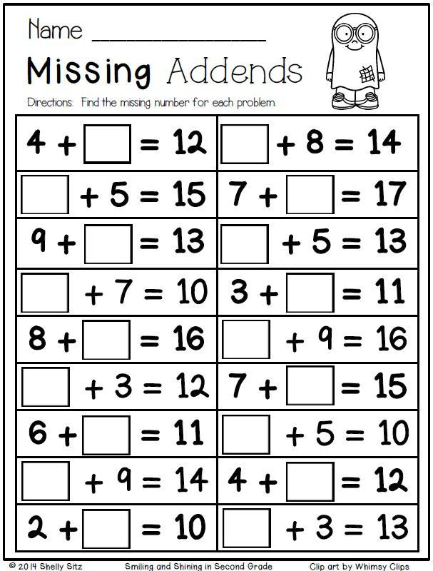 Missing Addends Worksheets 1st Grade Halloween Math for Second Grade