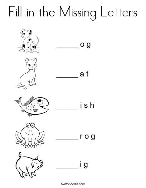 Missing Letter Worksheets for Kindergarten Fill In the Missing Letters Coloring Page Twisty Noodle