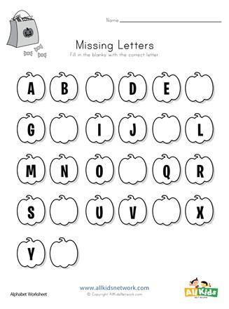 Missing Letter Worksheets for Kindergarten Halloween Missing Letters Worksheet