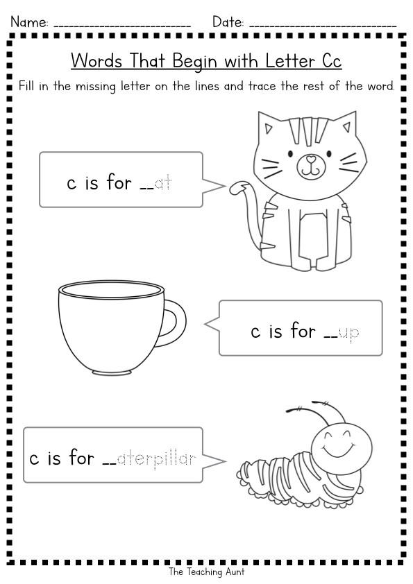 Missing Letter Worksheets for Kindergarten Missing Beginning Letter Worksheets the Teaching Aunt