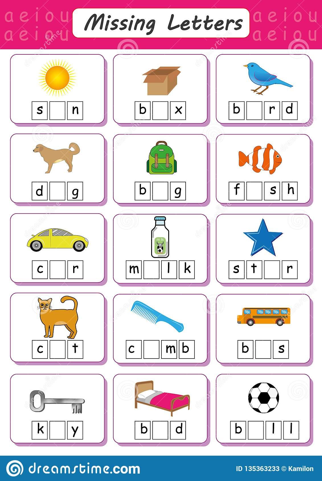 Missing Letter Worksheets for Kindergarten Write Missing Letter Write the Missing Vowel Worksheet for