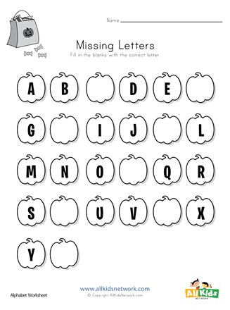 Missing Letters Worksheets for Kindergarten Halloween Missing Letters Worksheet